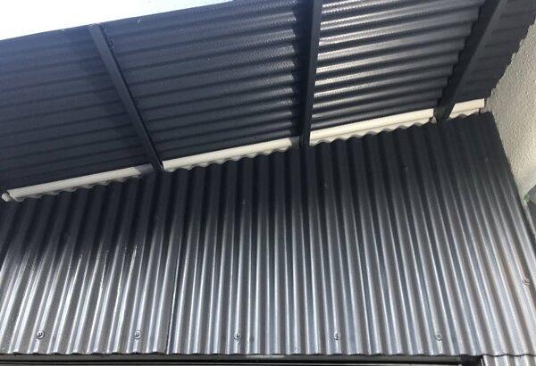 大阪府吹田市 小波スレートの壁、屋根塗装 手順 日本ペイント ファインパーフェクトトップ (3)