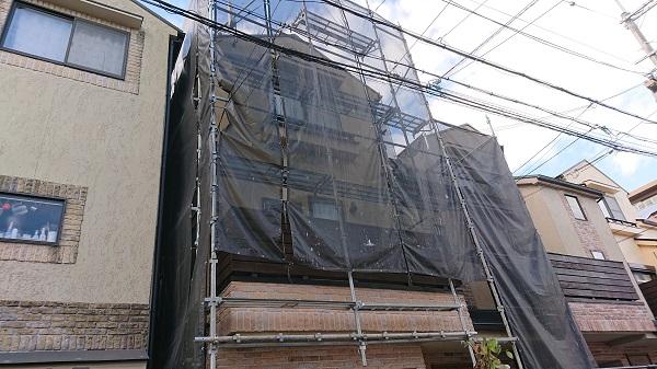 大阪府大阪市 外壁塗装・屋根塗装 近隣の方へのご挨拶 足場組み立て 飛散防止ネット