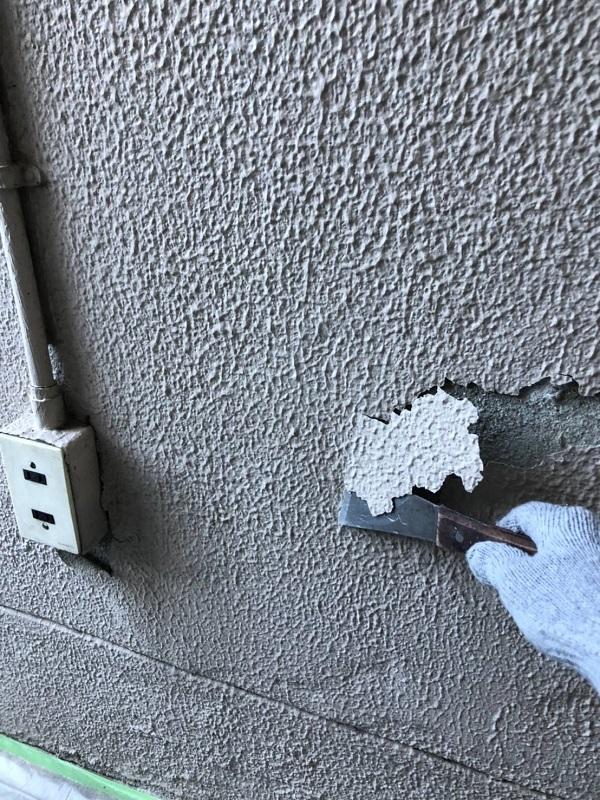 大阪府大阪市 外壁塗装 モルタル外壁の膨れ エスケー化研 水性ソフトサーフSG (8)