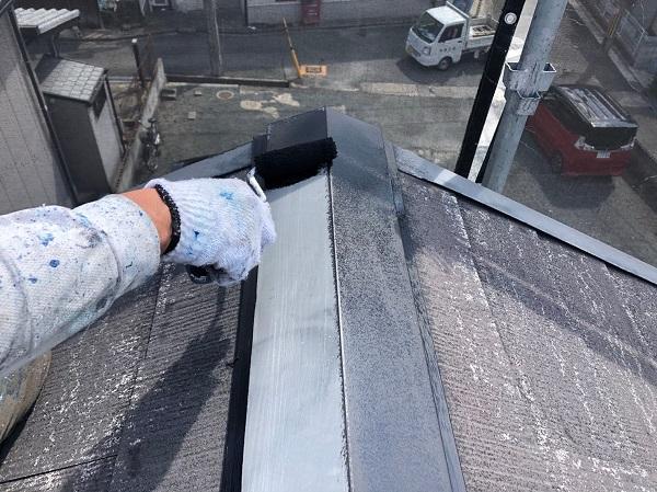 大阪府摂津市 T様邸 屋根塗装・外壁塗装・付帯部塗装 棟板金、ケラバ、屋根塗装 (3)